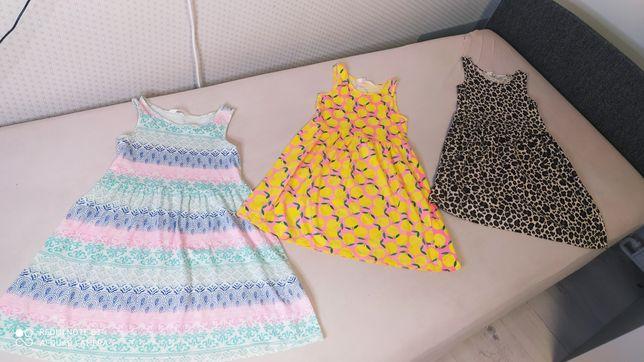 Sukienki letnie 122/128 h&m 6 sztuk