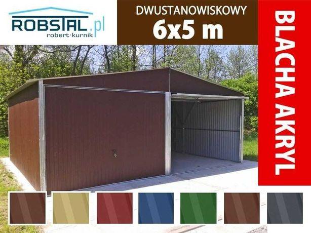 Garaż blaszany blaszak dwuspadowy w kolorze - konstrukcja ocynkowana