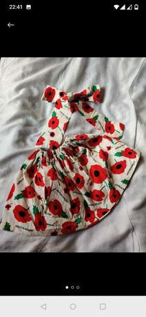 Летняя юбка, юбочка в маках + повязка на голову