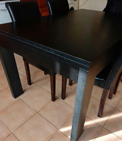 Mesa de Jantar em madeira Wengué extensível + 4 cadeiras