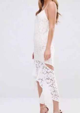 платье белое нарядное s-м, кружево, длинное, гипюр 36-38 44-46
