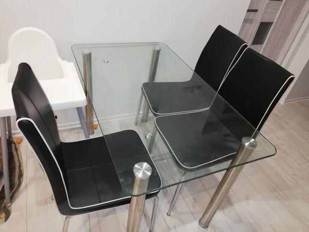 Stół szklany z 4 krzeslami