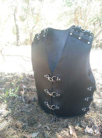 мото жилет байкера броня кожа