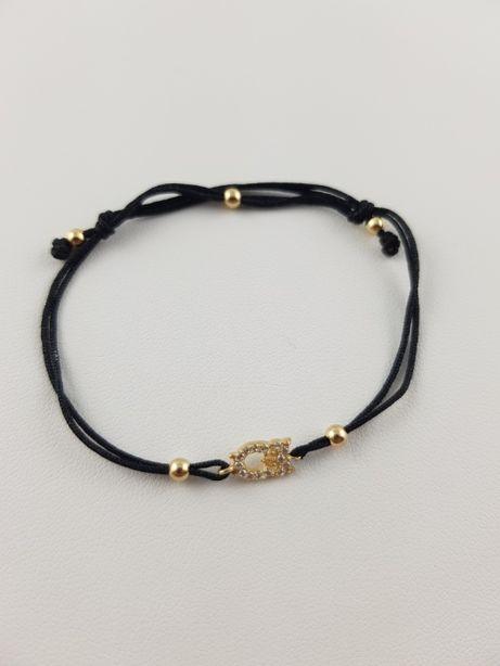 Piękna bransoletka pr. 585 złoto sznurek sowa