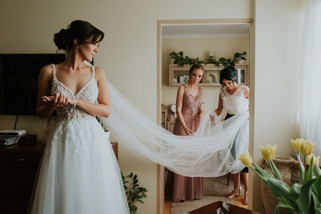 Suknia ślubna r. 36 + welon