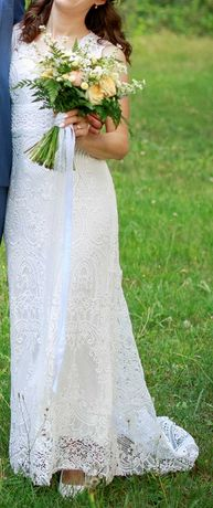 Suknia ślubna Boho, rybka, ivory, koronka, tren (XS/S/35/36)