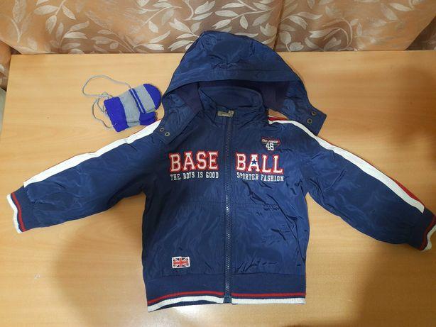 Курточка на мальчика, рост 98, рукавички в подарок
