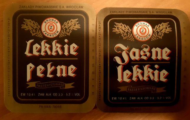 2 etykiety z lekkiego piwa Browar Zakrzów Wrocław