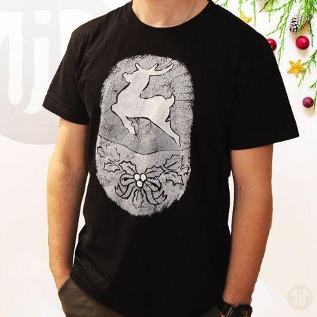 Koszulka świąteczna/ koszulka z reniferem/ koszulka z mikołajem