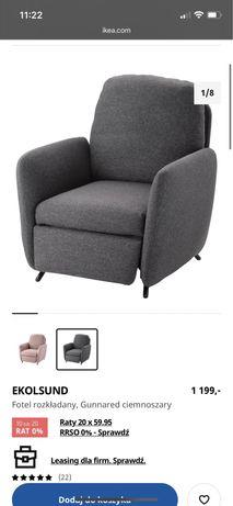 Fotel rozkładany Ekolsund Ikea tapicerowany regulowany podnóżek szary