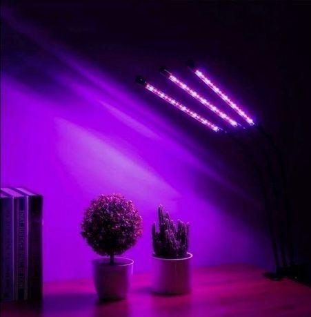 Фитолампа Полный спектр 30w Для подсветки растений С прищепкой 3 ветки