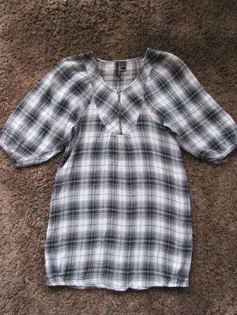 Sukienka w kratkę Mango bez talii XS S ciążowa bombka