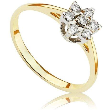 Pierścionek zaręczynowy z brylantami z białego i żółtego złota