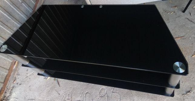 Stolik pod telewizor, czarny szklany