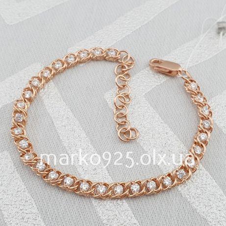 Позолота! Серебряный браслет арабка с камнями. Женский браслет серебро