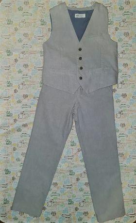 Хлопковый костюм жилет и брюки Н&М, 140р, бу 1 раз