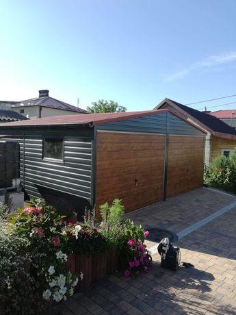 Garaż blaszany drewnopodobny 6x5.8.schowek.wiata. płyta warstwowa