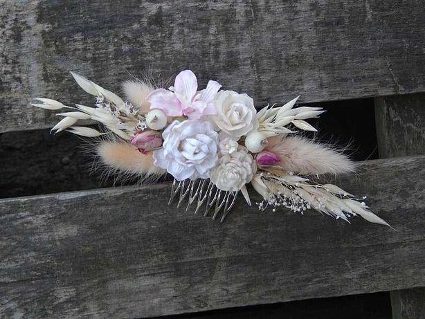 Kwiatowy grzebyk do włosów ślub sesja