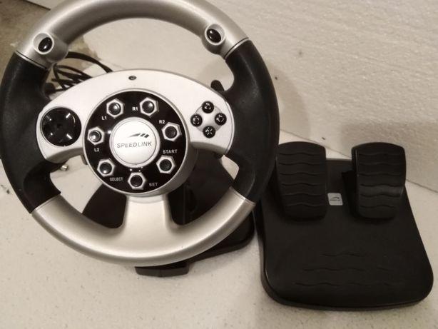 kierownica do PC/PS2 w idealnym stanie Speed Link Silver Wheel