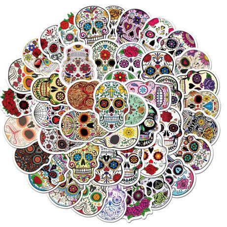 50 sztuk meksykańska Calaver cukrowa czaszka naklejki