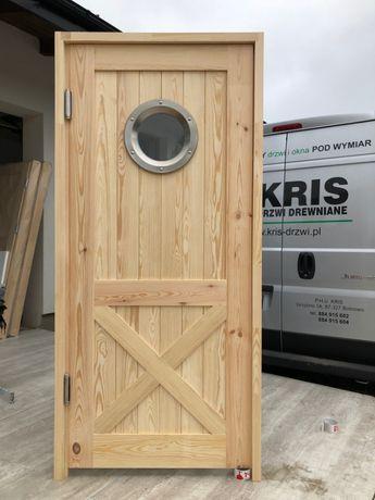 Drzwi sosnowe OD RĘKI wahadłowe z bulajem lite drewno