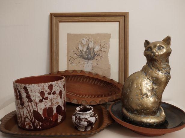 Ceramika patera, kot, osłonka, obrazek w ramce, drewniana patera