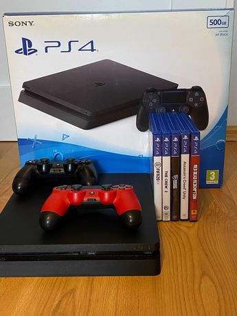 PlayStation 4 Slim 500GB + 2 Kontrolery + Oryginalne pudełko + 5 gier