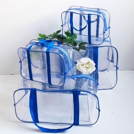 Набор прозрачных сумок в роддом AKMUS BABY 4 шт ХL + L + 2 шт S!Акция!