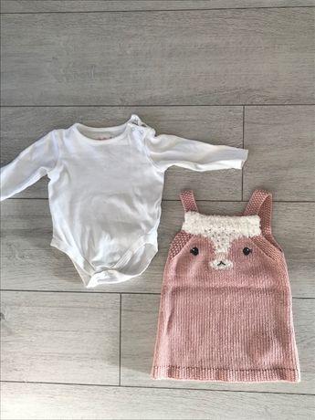 Komplet body sukienka niemowlęca 74 68 FF 6-9mcy