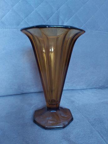 Art Deco Wazon Zawiercie lata 30-te  kolorowe szkło
