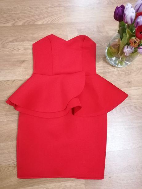 Nowa piękna czerwona sukienka mini z baskinką mini S