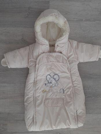 Kombinezon zimowy kolor ecru r.68, bluza ,kurtka