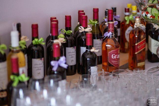 Kokardki na wódkę pozostałość po weselu fioletowe i ecru