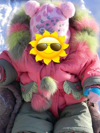 Зимний комбинезон девочке Kiko Кико 1-2 года, шапка