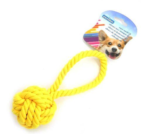 ZABAWKA dla psa sznur WĘZEŁ supeł szarpak gryzak żółty 18 CM aport
