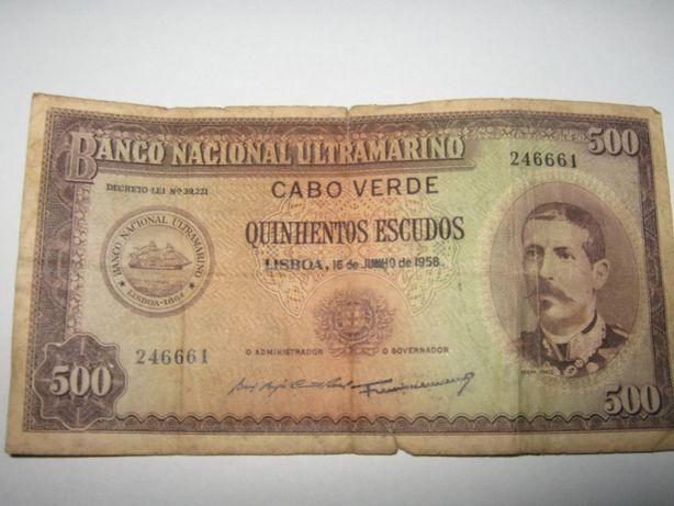 Nota de 500 escudos banco nacional ultramarino cabo verde de 1958