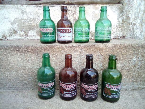 Conjunto de 8 garrafas pirogravadas Refrigerantes Buçaco