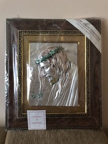 Картина Исус с терновым венком Серебро