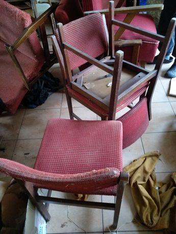 3 krzesla prl stare