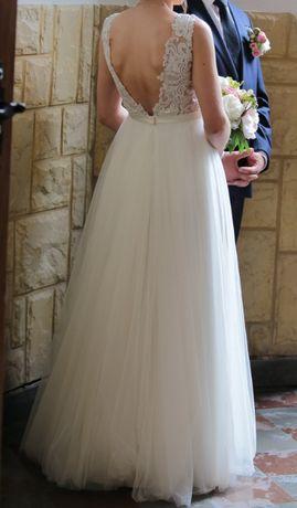 Suknia ślubna rustykalna delikatna rozm. 36 ivory