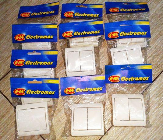 Выключатели Electromax новые, одно и двухклавишеые.