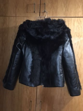 Куртка женская ( мех натуральный + кожзам )