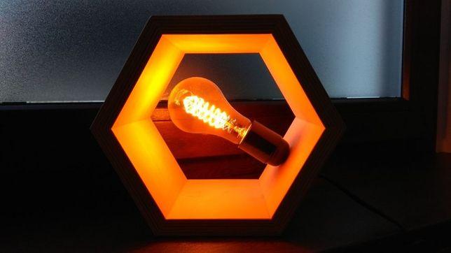 Lampka stołowa hexagon sześciokąt e27 żarówka edisona