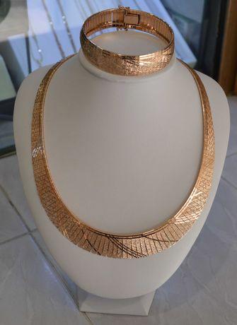 Unikatowy złoty komplet kolia +bransoletka p.585 58.62g NOWA CENA