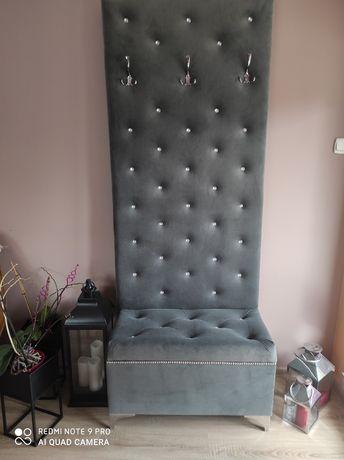 Garderoba, panel, wieszak, siedzisko, pufa, ławka- komplet glam , piki