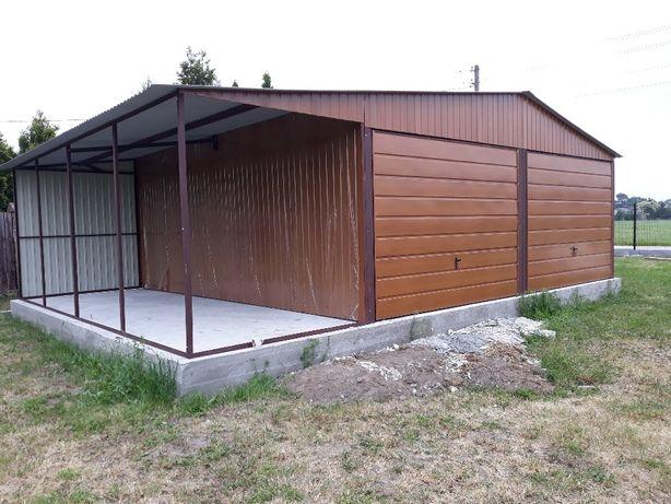 garaz blaszany 6x6 wiatka 2x6 razem 8x6 garaż blaszak