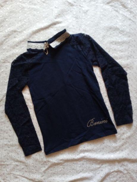 Блузка на девочку синяя 152р