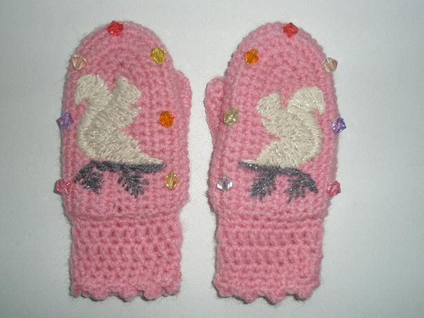 Новые нарядные вязаные рукавички на 1-2 года