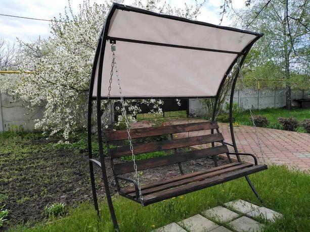 Качели садовые ( гойдалка Садова) Устойчивые, надежные. Есть наложка!