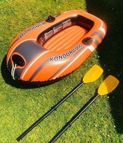 Одномісна надувна лодка з веслами, насосом до 55 кг.